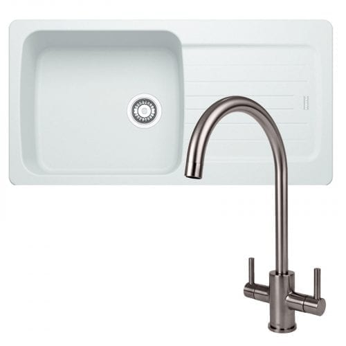 Franke Aveta 1.0 Bowl White Tectonite Kitchen Sink & Reginox Genesis Kitchen Tap
