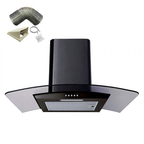 SIA CPL91BL 90cm Curved Glass Black Chimney Cooker Hood + 3m Ducting Kit