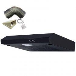 SIA ST60BL 60cm Black Slimline Visor Cooker Hood Extractor Fan & 3m Ducting Kit