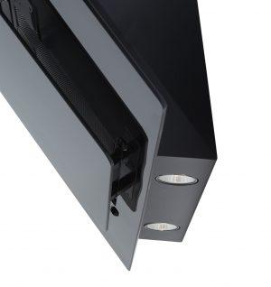 SIA 90cm Black 3 Colour LED Edge Lit Angled Glass Cooker Hood And 1m Ducting Kit