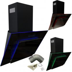 SIA 90cm Black 3 Colour LED Edge Lit Angled Glass Cooker Hood And 3m Ducting Kit