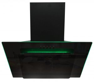 SIA 90cm Black 3 Colour LED Edge Lit Angled Glass Cooker Hood And Carbon Filter