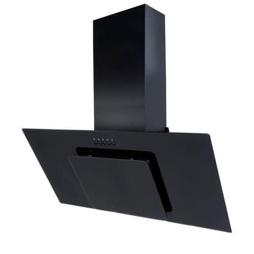 SIA 90cm 3 Colour LED Edge Lit Black Angled Glass Cooker Hood + Charcoal Filter