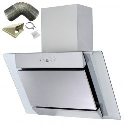 SIA AGL61SS 60cm Angled Stainless Steel Cooker Hood Extractor Fan And 3m Ducting