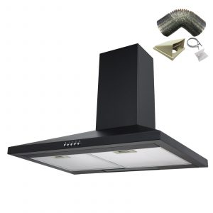 SIA CH71BL 70cm Black Chimney Cooker Hood Kitchen Extractor Fan And 1m Ducting