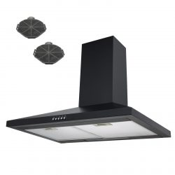 SIA CH71BL 70cm Black Chimney Cooker Hood Extractor Fan And Carbon Filters