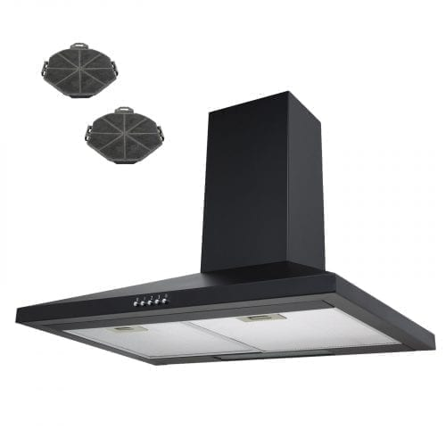 SIA 70cm Black Chimney Cooker Hood Extractor Fan + Recirculation Carbon Filters