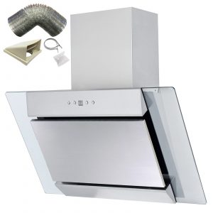 SIA 70cm Stainless Steel Angled Glass Chimney Cooker Hood Extractor & 3m Ducting