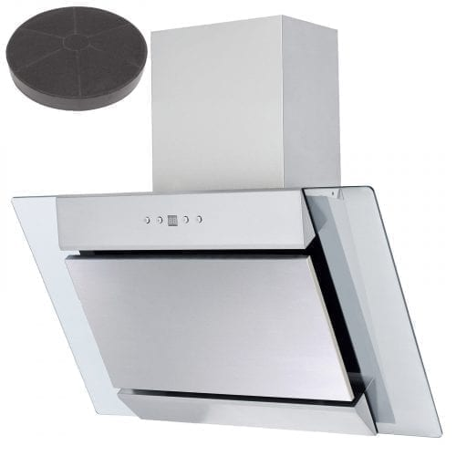 SIA 70cm Stainless Steel Angled Glass Cooker Hood Extractor Fan & Carbon Filter