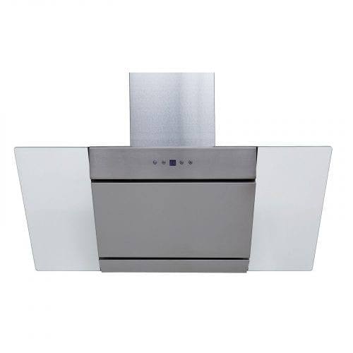 SIA 90cm Stainless Steel Angled Glass Chimney Cooker Hood Extractor & 3m Ducting