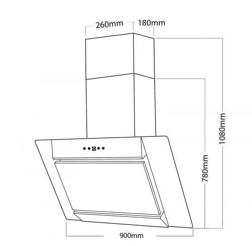 SIA AGL91SS 90cm S/Steel Angled Glass Chimney Cooker Hood Extractor + 3m Ducting