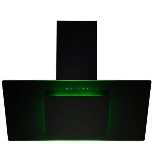 SIA 90cm 3 Colour LED Edge Lit Touch Control Black Cooker Hood And Carbon Filter