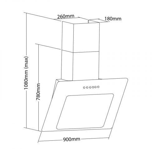 SIA 90cm 3 Colour LED Edge Lit Touch Control Black Cooker Hood + Filter
