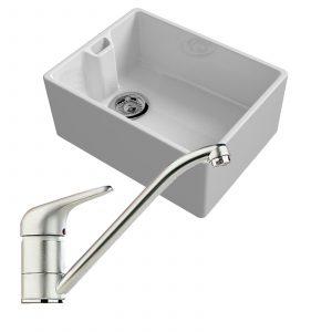 Reginox Belfast 600mm 1.0 Bowl Ceramic Kitchen Sink And Clearwater Creta Tap