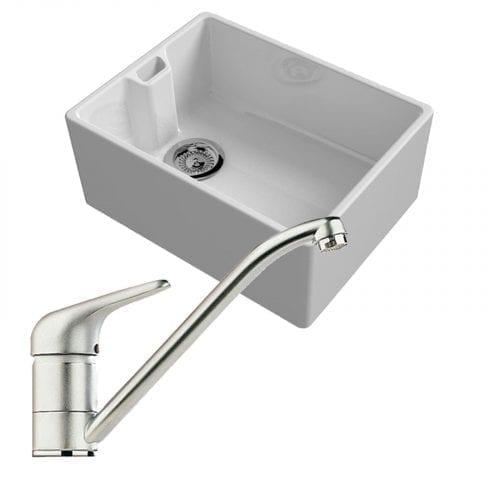 Reginox Belfast 600mm 1.0 Bowl Ceramic Kitchen Sink & Clearwater Creta Tap