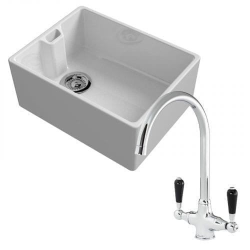 Reginox Belfast 600mm 1.0 Bowl Ceramic Kitchen Sink & Reginox Brooklyn Mixer Tap