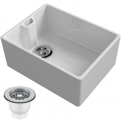 Reginox Belfast 600mm 1.0 Bowl White Gloss Ceramic Kitchen Sink And Waste Kit