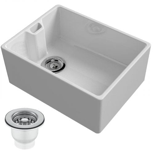 Reginox Belfast 600mm 1.0 Bowl Ceramic Kitchen Sink & Waste In White