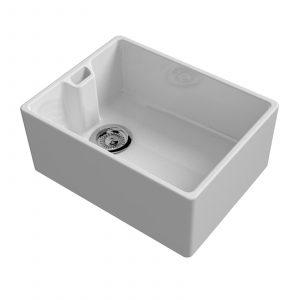 Reginox Belfast 600mm 1.0 Bowl Ceramic Kitchen Sink And Reginox Elbe Chrome Tap