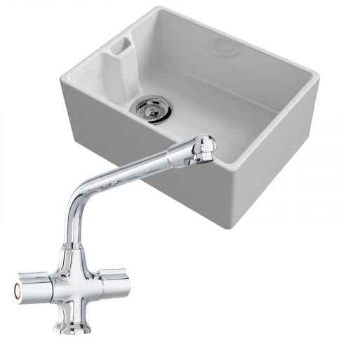 Reginox Belfast 600mm 1.0 Bowl Ceramic Kitchen Sink & CDA TC20 kitchen Mixer Tap