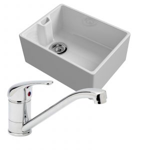 Reginox Belfast 600mm 1.0 Bowl Ceramic Kitchen Sink & Astracast TP0800 Mixer Tap