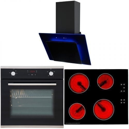 SIA 60cm Touch Control Electric Oven, Ceramic Hob & LED Cooker Hood Extractor