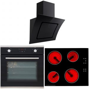 SIA 60cm Touch Control Electric Oven, Ceramic Hob & Curved Cooker Hood Extractor
