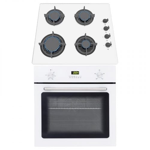 SIA White 60cm Single Electric Fan Oven & SIA 60cm White 4 Burner Gas Glass Hob