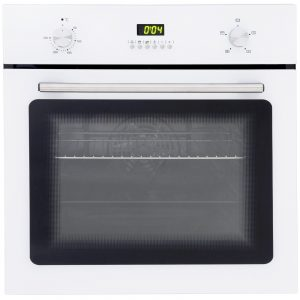 SIA 60cm White Single Electric True Fan Oven & 70cm White 5 Burner Gas Glass Hob