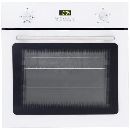 SIA 60cm White Single Electric Fan Oven & SIA 70cm White 5 Burner Gas Glass Hob