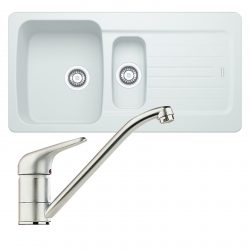 Franke Aveta 1.5 Bowl Ice White Tectonite Kitchen Sink And Clearwater Creta Tap