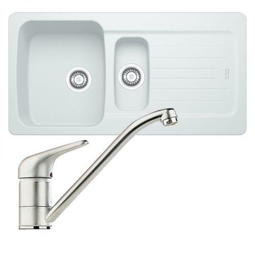 Franke Aveta 1.5 Bowl Ice White Tectonite Kitchen Sink And Clearwater Creta Tap