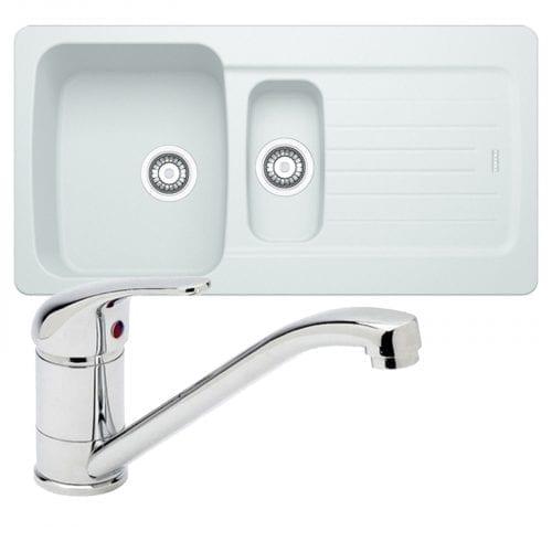 Franke Aveta 1.5 Bowl Ice White Tectonite Kitchen Sink & Astracast TP0800 Tap