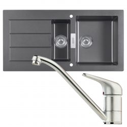 Franke SID651 Sirius 1.5 Bowl Black Kitchen Sink And Clearwater Creta Chrome Tap