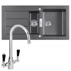 Franke SID651 Sirius 1.5 Bowl Black Kitchen Sink And Reginox Brooklyn Chrome Tap