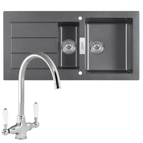 Franke SID651 Sirius 1.5 Bowl Black Kitchen Sink & Reginox Elbe Chrome Tap