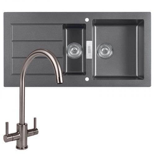Franke SID651 Sirius 1.5 Bowl Black Kitchen Sink & Reginox Genesis Swan Neck Tap