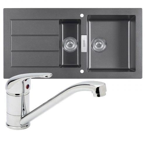 Franke SID651 Sirius 1.5 Bowl Black Kitchen Sink & Astracast TP0800 Chrome Tap