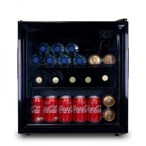 SIA DC2BL 52L Black Free Standing Glass Door Table Top Mini Wine & Drinks Fridge