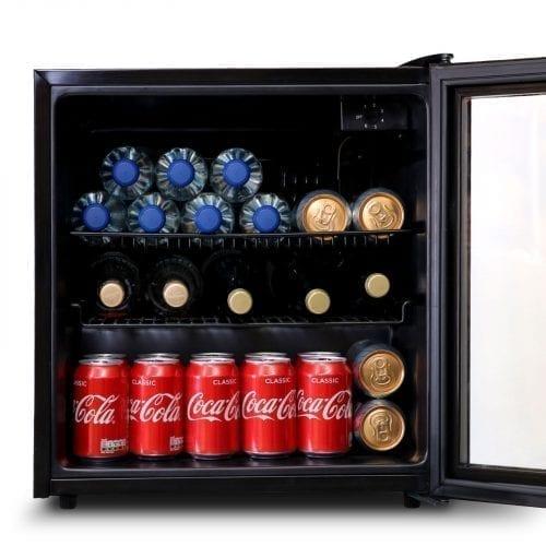 SIA DC2BL 52L Black Free Standing Glass Door Table Top Mini Wine & Drinks Fridge