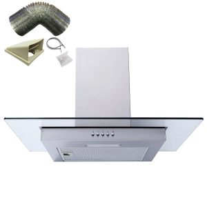 SIA FL61SS 60cm Stainless Steel Flat Chimney Cooker Hood Extractor & 1m Ducting