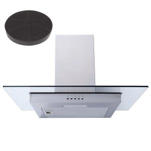 SIA FL61SS 60cm Stainless Steel Flat Glass Chimney Cooker Hood & Charcoal Filter