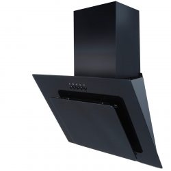 SIA AGL71BL 70cm Black Angled Glass Chimney Cooker Hood Extractor Fan
