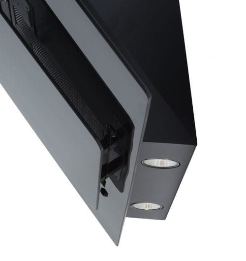 SIA 70cm Black Angled Glass Chimney Cooker Hood Extractor + Carbon Filter