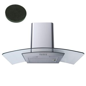 SIA CG91SS 90cm Stainless Steel Curved Glass Chimney Cooker Hood & Carbon Filter