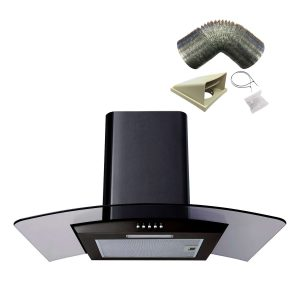 SIA CG71BL 70cm Curved Glass LED Black Cooker Hood Extractor And 1m Ducting Kit