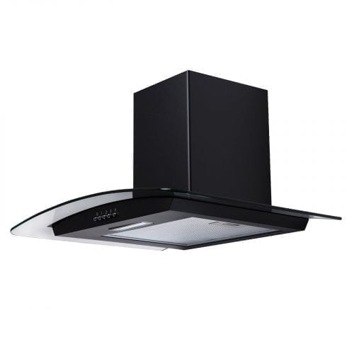 SIA CG71BL 70cm Curved Glass Black LED Cooker Hood Extractor + 1m Ducting Kit