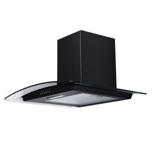 SIA CG71BL 70cm Curved Glass LED Black Chimney Cooker Hood Kitchen Extractor Fan