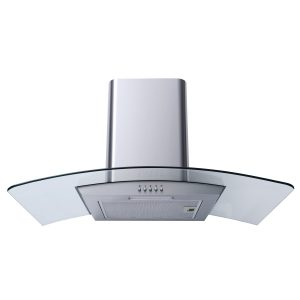 SIA CG91SS 90cm Stainless Steel Curved Glass Chimney Cooker Hood Extractor Fan