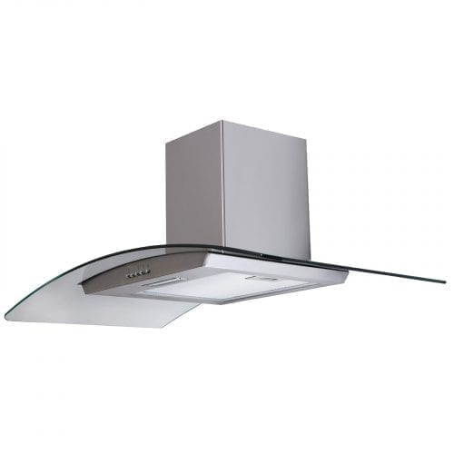 SIA CG91SS 90cm Curved Glass Stainless Steel Chimney Cooker Hood Extractor Fan